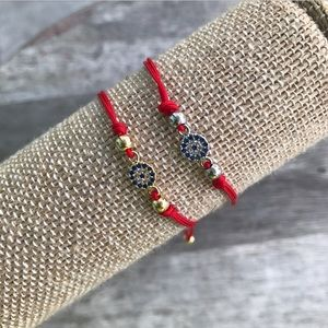 Jewelry - Crystal adjustable evil eye bracelet
